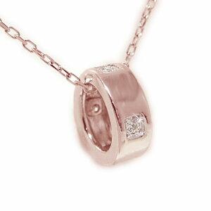 K18ピンクゴールド ペンダント ダイヤ ベビーリング ネックレス