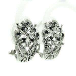 PT900プラチナ イヤリング ダイヤモンド ブラックダイヤ 透かし柄 クリップ式 ワンタッチ ばね式 アンティーク モチーフ