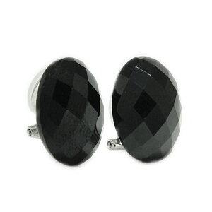 PT900プラチナ イヤリング クリップ式 ワンタッチ スピネル ブラックスピネル ブラック 天然石 黒い石 オーバル 小判型 大ぶり ボリューム ばね式 軽量金具使用