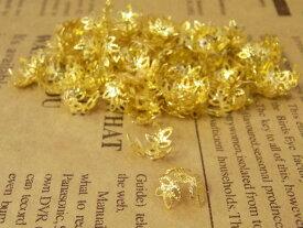 座金・花座パーツビーズキャップ14mm100個 金GOLD