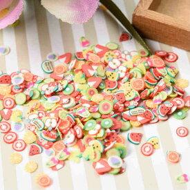 【レジン パーツ 封入 素材】ポリマークレイ チップ フルーツミックス 約3-6mm 約3g カラフル ネイル 果物 アクセサリーパーツ デコ