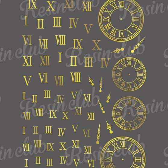 Resin club(レジンクラブ) 【レジン 封入 シール】埋め込みレジンシール ローマ数字&時計 ゴールド 1枚 金 短針 長針 針 盤面 とけい アンティーク ステッカー