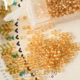 ビーズ 丸小ビーズ col.32 ゴールド 2mm 10g 約0.2cm 丸ビーズ 銀引き 11/0 RR ガラス 透明プラケース入 アクセサリーパーツ パーツ ビーズパーツ ビーズ手芸 ビーズアクセサリー 銀メッキ 小さめビーズ さや工房 沙や工房