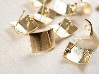 紗や工房オリジナルピアスプレートゴールド10個10ヶ5ペアカン付カーブレクタングル筋入りデザインプレート日本製アクセサリーパーツパーツピアスパーツピアス金具ピアス資材オリジナルピアスさや工房沙や工房