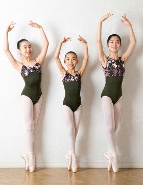 バレエレオタード大人ジュニア[オリーブフラワー・リボンパッセ]日本製お直し3年保証ボタニカルな花柄スカートなしバレエレオタード濃緑深緑カーキバレエ練習着30140150大人S大人M大人L新体操国産バレエ用品サヨリ[scl014][5PU]