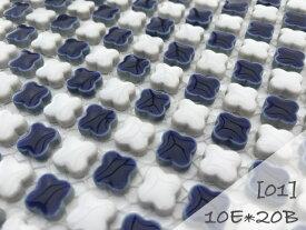 花子市松 美濃焼タイル モザイクタイル 10mmフラワー 市松貼タイルシート(10pflo-i)