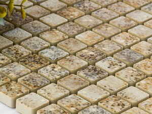 美濃焼タイル 窯変モザイクタイル 15mm角 マットチーズ(15SQ-MZ-1502)タイル 内壁 外壁 リノベーション インテリア ブルックリン DIY/少量ご注文の場合は半分に折った状態で発送致します☆☆☆