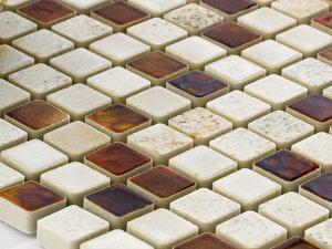 美濃焼タイル 窯変モザイクタイル 15mm角 ウィスキーミックス(MZ-06MIX)タイル 内壁 外壁 リノベーション インテリア ブルックリン DIY/少量ご注文の場合は半分に折った状態で発送致します☆☆
