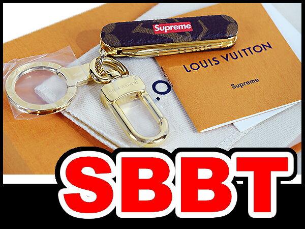 ●【LOUIS VUITTON】ルイヴィトン×シュプリーム Supreme  ポケットナイフキーチェーン キーホルダー  (Pocket Knife Keychain) ブラウン×モノグラム×ゴールド金具 ●間違いなく本物!