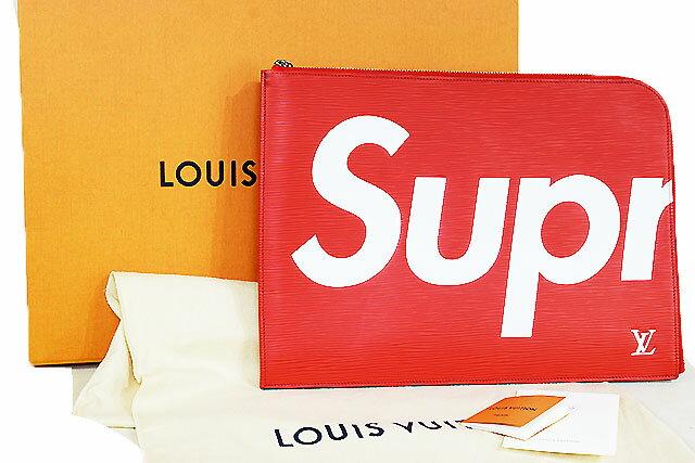 ●【LOUIS VUITTON】ルイヴィトン×シュプリーム コラボ    ポシェットジュール GM  M67722  赤  エピ   Supreme セカンドバッグ  クラッチバッグ  薄型バッグ レッド  本物  新品未使用