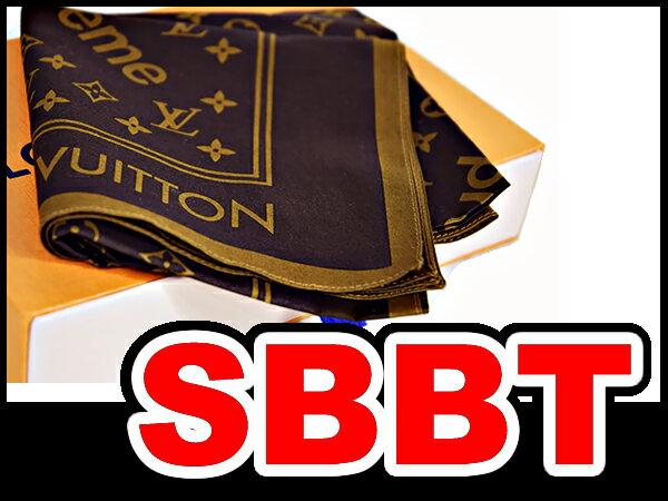 ●【LOUIS VUITTON】ルイヴィトン×シュプリーム   Supreme  コラボ  モノグラムバンダナ (Monogram Bandana )スカーフ  ブラウン  コットン100%  55×55cm