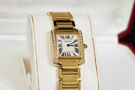 ●【Cartier】カルティエ  腕時計   タンクフランセーズ    SMサイズ     サイドダイヤベゼル   レディース    K18YG イエローゴールド×ダイヤ   白文字盤  本物  ランクA