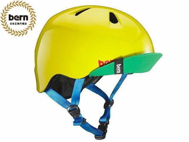バーン bern - NINO ニノ (Visor付) GLOSS YELLOW GREEN VISOR 黄 緑 自転車 スケートボード BMX ピスト ヘルメット キッズ 【smtb-m】