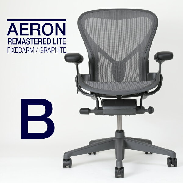 【2019/05/23入庫予定】ハーマンミラー アーロンチェアリマスタード ライトシリーズ フィックスドポスチャーフィット 固定アーム Bサイズ AER1B22PW-ZSSG1G1G1BBBK23103 Herman Miller aeron chair remasterd light