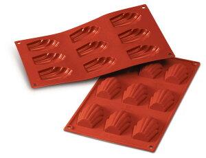 シリコン焼き型【マドレーヌ:9ヶ取】【出来上がり寸法68x45x17mm】本体サイズ:300x175mm シリコン型 オーブン対応 食器洗浄機対応 電子レンジ対応 シリコマート シリコンフレックス デザート