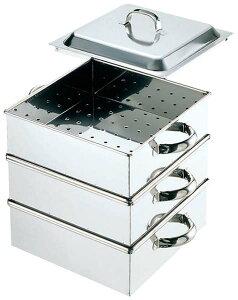 IH対応業務用角蒸し器 2段/30cm【一段分の内寸 300x300x125mm】水槽・中段2個・蓋セット ステンレス製 蒸しもの せいろ オールステンレス 板厚1.0mm 正方形 四角 蒸器 茶碗蒸し
