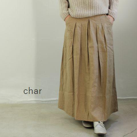 【クーポン対象外】 □□char(チャー) フレンチリネン タックロングスカートmade in japanch-025s519