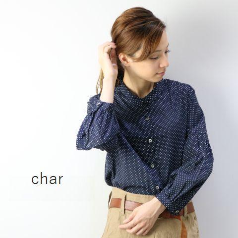 【クーポン対象外】 □□char(チャー) ピンドット プチカラー ブラウス made in japanch-041b390