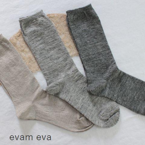 【クーポン対象外】 ★ポスト便無料★ evam eva(エヴァムエヴァ) linen socks 3colormade in japane171z186-z-d