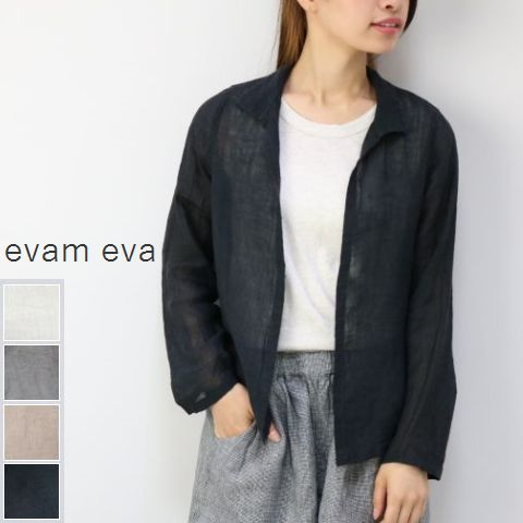 evam eva(エヴァムエヴァ) linen shirt CD 4colormade in japane181t216【evss】