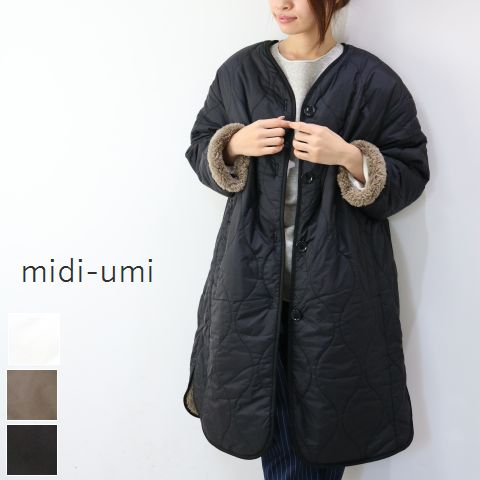 【5%10%クーポン】10/16(tue)8:00〜10/19(fri) 14:59まで midiumi (ミディウミ)reversible quilted long coat 3color3-770550-j 3-773967 3-776814 3-774090【scamp】