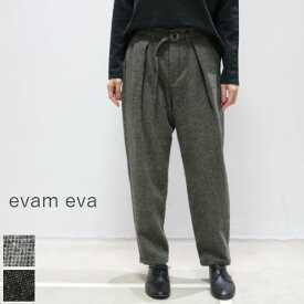 evam eva(エヴァムエヴァ)wool tuck pants 2colormade in japanE193T134【ee】