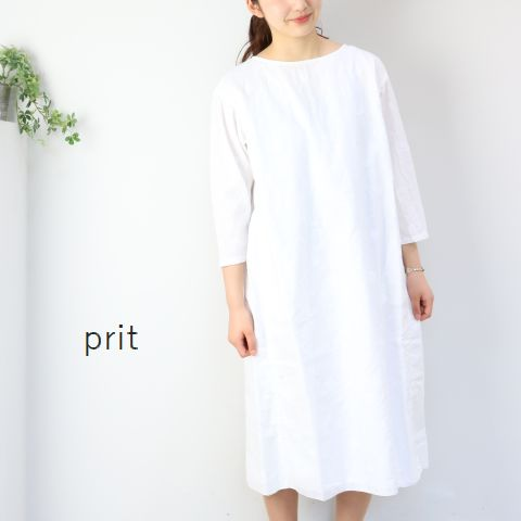 【50%OFF】Final Sale prit(プリット)水玉カットジャガードバックタック 8分丈 ワンピース 2colormade in japan81821