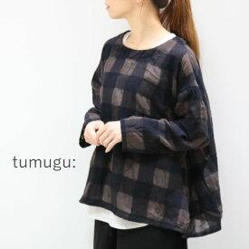 【予約商品】 tumugu(ツムグ)ウールコットンチェックプルオーバーmade in japantb19314
