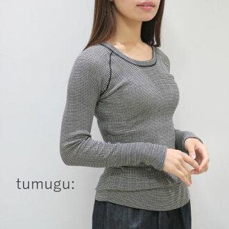 It is tumugu (ツムグ) random rib horizontal stripe U neck long sleeves tk19404 until (Wed) 1:59 on \ 15% 10% OFF coupon / December 11