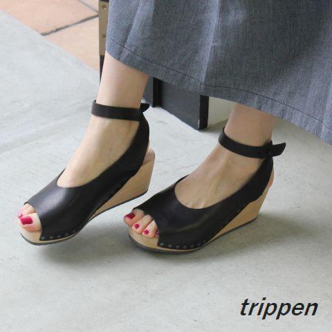 trippen(トリッペン) orinoco/オリノコ アンクルストラップ ウッド サンダル【正規取扱店】-f