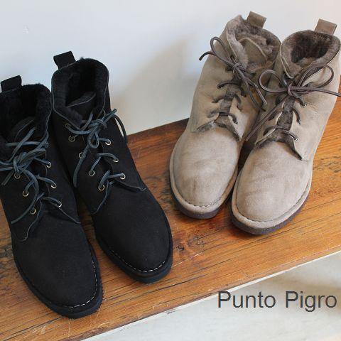 特別SALE【70%OFF】 PUNTO PIGRO(プントピグロ) シープスキン レースアップ ブーツ 2color【★】