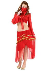 シャイニーサンアラビア 1着 赤 トップス スカート セパレート マスクつき コスプレ衣装