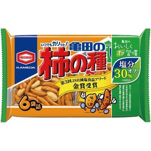 【訳あり】 賞味期限:2018年5月15日 亀田製菓 減塩 亀田の柿の種 6袋入 200g