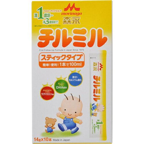 森永乳業 フォローアップミルク チルミル スティックタイプ (14g)×10本入り 満1歳頃〜3歳頃まで【A】