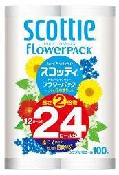 【zr】 スコッティフラワートイレットペーパー 2倍巻きシングル(12ロール)  長持ち長さ2倍巻き