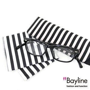 Bayline『neck readers』 リーディンググラス &クロスセット ストライプ柄 老眼鏡 おしゃれ レディース メンズ