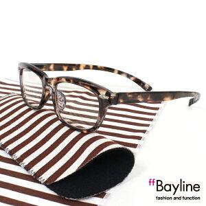 Bayline『neck readers』 リーディンググラス &クロスセット ストライプ デミブラウン 老眼鏡 ブルーライトカット