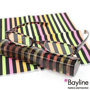 Bayline リーディンググラス &クロスセット/ストライプ 老眼鏡 おしゃれ シニアグラス
