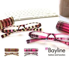 Bayline リーディンググラス 老眼鏡 マルチストライプ ピンクチェッククリアプラスチックケース