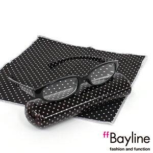 Bayline リーディンググラス &クロスセット ドット(小) [ブラック] 老眼鏡 おしゃれ レディース 女性