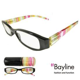 【SALE】Bayline/ベイライン リーディンググラス 老眼鏡 マルチストライプ プラスチックケース シニアグラス