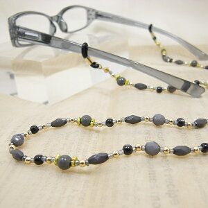 カラービーズグラスコード [グレー]メガネチェーン 老眼鏡 おしゃれ 女性