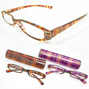 【SALE】Bayline/ベイライン リーディンググラス マドラスチェック柄ブラウン パープルプラスチックケース シニアグラス 老眼鏡 おしゃれ
