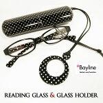 リーディンググラス(老眼鏡)ドット柄プラスチックケース&メガネホルダー