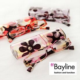 【SALE】 Bayline/ベイライン リーディンググラス スクエア系モダンフラワー柄プラスチックケース 老眼鏡 おしゃれ レディース シニアグラス 女性 あす楽対応