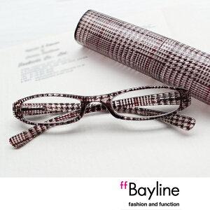 Bayline/ベイライン リーディンググラス グレンチェック柄クリアプラスチックケース 老眼鏡 おしゃれ メンズ 男性 シニアグラス