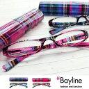 老眼鏡 女性 おしゃれ Bayline リーディンググラス(老眼鏡) タータンチェック柄ピンク/ブルークリアプラスチックケース