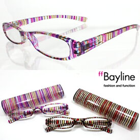 【SALE】 Bayline ベイライン リーディンググラス 老眼鏡 マルチストライプピンク&レッド スリムプラスチックケース シニアグラス