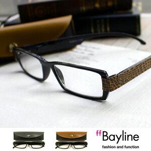 【SALE】Bayline ベイライン リーディンググラス ブラック ブラウン ボックスタイプレザー調ケース 男性 おしゃれ 老眼鏡 メンズ あす楽対応