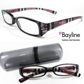 【SALE】 Bayline(ベイライン) リーディンググラス テンプルストライプ/クリアブラック 老眼鏡 おしゃれ メンズ レディース 男性 あす楽対応 men's 老眼鏡